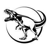 Schattenbild der Wimperntusche, Fleisch fressender aggressiver Dinosaurier Tyrannosaurus Stockfoto