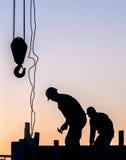 Schattenbild des Bauarbeiters Lizenzfreie Stockfotografie