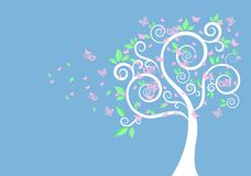 Schattenbild des Baums und der Schmetterlinge lizenzfreies stockfoto