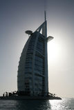 Schattenbild des Burj Al Araberhotels Stockbilder