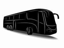 Schattenbild des Busses Blumenhintergrund mit Gras Stockfotografie