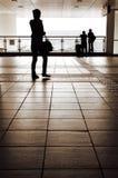 Schattenbild des einzelnen Frauengebrauch-Mobiltelefons Lizenzfreie Stockfotos