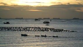 Schattenbild des Fischerbootes im Meer stock video