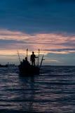Schattenbild des Fischers Lizenzfreies Stockbild