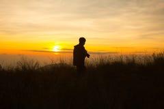 Schattenbild des Fotografen Foto machend Lizenzfreie Stockbilder