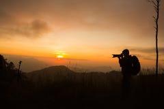 Schattenbild des Fotografen Foto machend Lizenzfreies Stockfoto