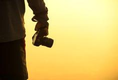 Schattenbild des Fotografen Foto machend Stockbild