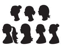 Schattenbild des Frauenkopfes Stockfotos