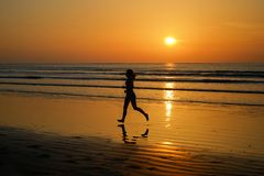 Schattenbild des Frauenrüttlers laufend auf Sonnenuntergangstrand mit Reflexion, Eignung und Sport lizenzfreies stockfoto