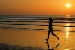 Schattenbild des Frauenrüttlers laufend auf Sonnenuntergangstrand mit Reflexion, Eignung und Sport stockfotografie