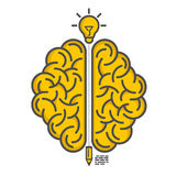 Schattenbild des Gehirns auf einem weißen Hintergrund Lizenzfreie Stockfotos