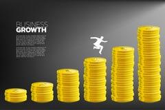 Schattenbild des Geschäftsmannes springen zur höheren Spalte des Gelddiagramms vektor abbildung