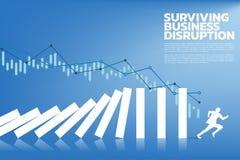 Schattenbild des Geschäftsmannlaufs weg von Dominoeinsturz vektor abbildung
