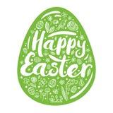 Schattenbild des grünen Eies mit einem Glückwunsch für fröhlichen Ostern Vektorillustration, Gestaltungselement Stockbild