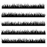 Schattenbild des Gras-Satzes lokalisiert auf weißem Hintergrund Vektor lizenzfreie abbildung
