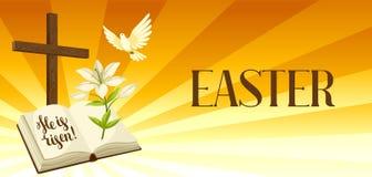 Schattenbild des hölzernen Kreuzes mit Bibel, Lilie und Taube Glückliche Ostern-Konzeptillustrations- oder -grußkarte fromm lizenzfreie abbildung
