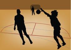 Schattenbild des Handballspielers Stockfoto