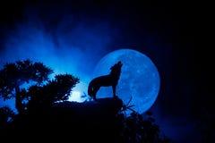 Schattenbild des Heulenwolfs gegen dunklen getonten nebeligen Hintergrund und Vollmond oder Wolf im Schattenbild heulend zum Voll Lizenzfreies Stockbild