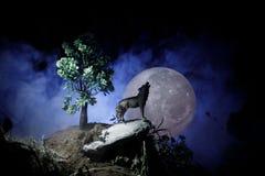 Schattenbild des Heulenwolfs gegen dunklen getonten nebeligen Hintergrund und Vollmond oder Wolf im Schattenbild heulend zum Voll Stockfotografie