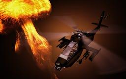 Schattenbild des Hubschraubers mit Explosion auf Hintergrund Soldatrettungshubschraubereinsätze Hubschrauber im Smog 3d lizenzfreie stockfotografie