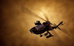 Schattenbild des Hubschraubers, Soldaten retten Hubschraubereinsätze auf Sonnenunterganghimmelhintergrund Hubschrauber im Smog 3d lizenzfreie stockfotografie