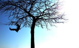 Schattenbild des jungen Mädchens auf einem Schwingen Stockfotografie