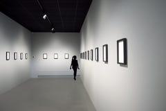 Schattenbild des jungen Mädchens an der Kunstausstellung Lizenzfreies Stockbild