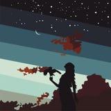 Schattenbild des jungen Mädchens mit einem Vogel auf Hintergrundsonnenuntergang und sternenklarem Himmel Stockfotografie