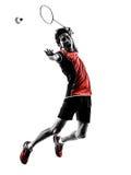 Schattenbild des jungen Mannes des Badmintonspielers Stockbild