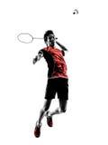 Schattenbild des jungen Mannes des Badmintonspielers Stockfotografie