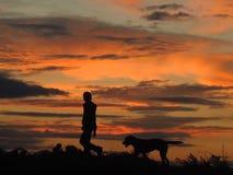 Schattenbild des Jungen und des Hundes stockbilder