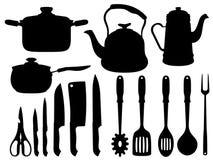 Schattenbild des Küchenwerkzeugs stock abbildung