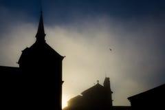 Schattenbild des katholischen Tempels Lizenzfreie Stockfotos