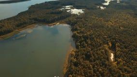 Schattenbild des kauernden Geschäftsmannes Fliegen über den schönen Felder Fluss und den schönen Wald stock footage