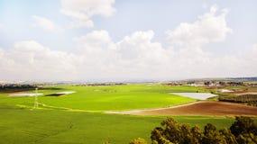 Schattenbild des kauernden Geschäftsmannes Landwirtschaftsgrünfeld von oben Lizenzfreies Stockbild