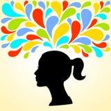 Schattenbild des Kopfes der jungen Frau denkt, dass helles buntes spritzt Lizenzfreie Stockfotografie