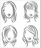 Schattenbild des Kopfes einer netten Dame Das M?dchen zeigt ihre Frisur f?r mittleres und kurzes Haar Passend f?r Logo, Werbung stock abbildung