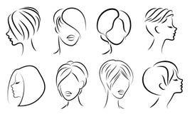 Schattenbild des Kopfes einer netten Dame Das M?dchen zeigt ihre Frisur f?r mittleres und kurzes Haar Passend f?r Logo, Werbung lizenzfreie abbildung