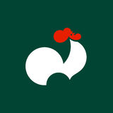 Schattenbild des krähenden Hahns Vektorlogoschablone oder Ikone des Hahnes Lizenzfreie Stockfotografie