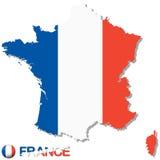 Schattenbild des Landes Frankreich mit nationalen Farben Lizenzfreies Stockbild