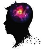 Schattenbild des Männerkopfs mit kreativen Ideen Lizenzfreies Stockbild