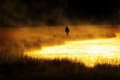 Schattenbild des Mann-Flyfishing Fischens im Fluss-goldenen Sonnenlicht lizenzfreie stockfotos