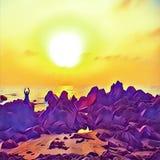 Schattenbild des Mannes auf Felsen bei Sonnenuntergang Männliche Person, die Yoga auf Sonnenuntergang durch die Küste macht lizenzfreie abbildung