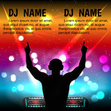 Schattenbild des Mannes DJ mit Kopfhörern, mit Ihren Händen gegen einen Nachtclub Lizenzfreie Abbildung