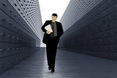 Schattenbild des Mannes im Daten-Lager stockfotos