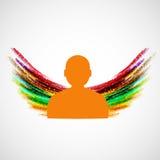 Schattenbild des Mannes mit farbigen Flügeln Vektor eps10 Lizenzfreie Stockfotografie