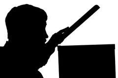 Schattenbild des Mannes mit Scharnierventilfilm Lizenzfreie Stockfotos