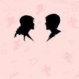 Schattenbild des Mannes und der Frau auf abstraktem Hintergrund Lizenzfreies Stockbild