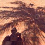 Schattenbild des Mannes und der Palme auf einer Backsteinmauer lizenzfreies stockbild