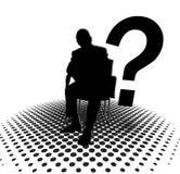 Schattenbild des Mannes und des Fragezeichens Lizenzfreie Stockfotografie